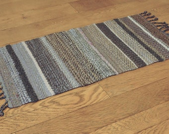 "Hand Woven Table Mat Grey Taupe Wool - 11"" x 23"""