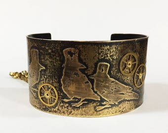 Steampunk Blackbirds Cuff, Etched Brass Steampunk Crows Cuff Bracelet, Ravens with Top Hats Bracelet - Free Domestic Shipping