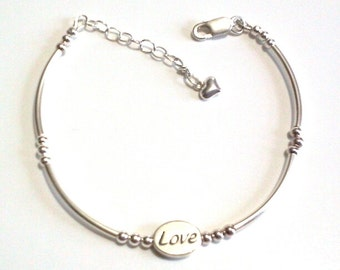 Sterling Silver Love Bead Message Bracelet, Tube Bead Jewelry, Trendy Bracelet, Feminine Birthday, Anniversary, Valentine, Mothers Day Gift