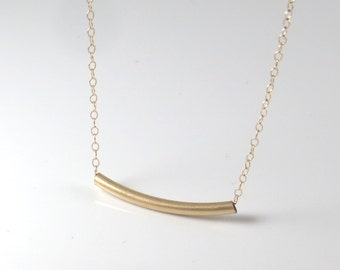 gold tube necklace, delicate gold filled tube necklace,Gold bar necklace, dainty tube necklace,gold filled tube necklace