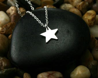 Silver star necklace texas star necklace single star necklace silver star charm necklace