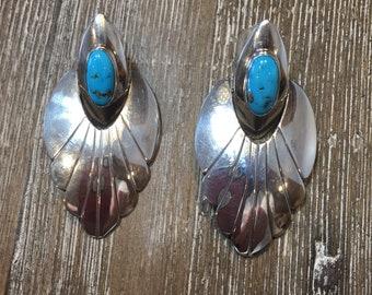 Southwestern Navajo Turquoise Sterling Silver Earrings