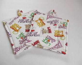 Potholders. Set of 2 Quilted Potholders, You Go Girl  Potholders, Fabric Potholders