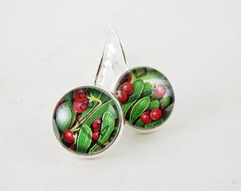 Berry Bush Leverback Earrings, 1992 Canada Postage Stamp Jewelry, Nickel Free Silver, Red Green Pop of Colour, Made In Canada, Gift Under 30