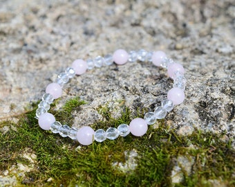i am love. - Rose Quartz & Faceted Quartz - Heart Chakra Bracelet - Love, Grief/Trauma Support, Compassion