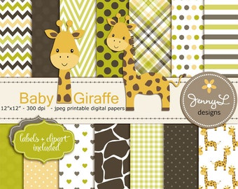 Giraffe Baby Shower Digital Papers and Clipart, Baptism, Dedication, Birthday, Baby Giraffe Clipart, Giraffe Print, Animal Print