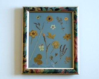 Vintage Flower Picture Dried Flowers Pressed Flowers Wild Flowers Framed Art Cottage Decor Shabby Chic Housewarming Gift Wedding Gift Ideas