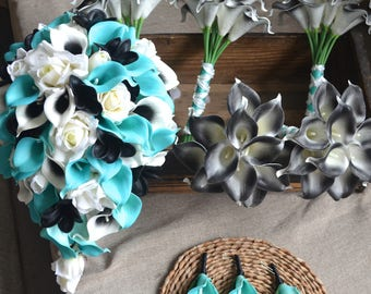 Turquoise Black Wedding Bouquets Real Touch Callas Lilies Black Plumerias Wedding Package Boutonnieres