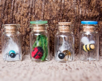 BEE ~ SPIDER ~ LADYBIRD ~ Treasure bottle ~ miniature ~ Waldorf inspired ~ nature ~ insect ~ gift