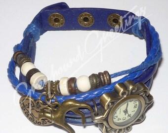 Blue Wrap Bracelet Watch w Bronze Heart and Greyhound Dog Charms