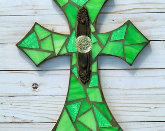 Lime Green mosaic cross, stained glass cross with antique door knob, Religious Cross, mosaic wall hanging, decorative cross, mosaic wall dec