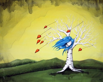 Loves Like A Hurricane - 8x10 Art Print - Whimsical Girl Tree with Blue Hair and Hearts - Art by Marcia Furman