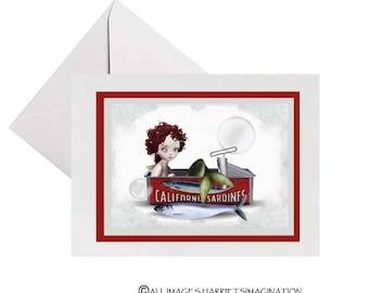 Quirky Mermaid | Greeting card | Mermaid art | Art card | Handmade card | Blank card | All occasion | Card with envelope | Keepsake card