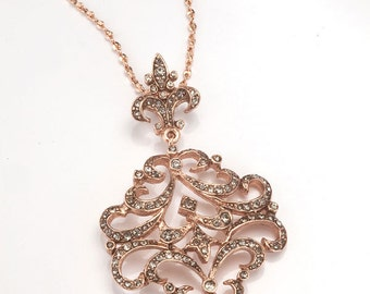 Rose Gold Fleur-de-Lis Pendant Necklace