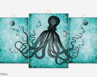 Octopus Triptych Canvas Panel Octopus Triptych Canvas Board Octopus Wall Art  Set  3 Panel Wall Art Coastal Wall Art By NATURA PICTA CB009