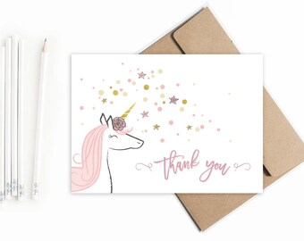 Unicorn Thank You cards  // Magical Unicorn thank you notes // Birthday thank you cards // Unicorn birthday party