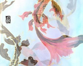 Blue Silk Shawl, Koi Scarf, Silk Scarf Handpainted, Japanese Silk Scarf, Silk Scarf Women, Koi Shawl, Blue Silk Scarf, Made to order