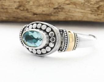 Ring, Silver Ring, Blue Topaz, Blue Topaz Ring, Oxidized Topaz Ring, Topaz Ring, Handmade Silver 925 Ring, Birthstone Ring, Blue Gemstone