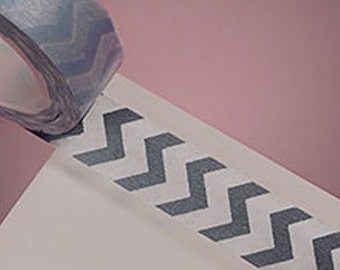 Washi Tape-Silver and White Zig Zag Washi Tape-Planner Sticker, Gift Wrap Tape-Scrapbooking Sticker-Single Roll