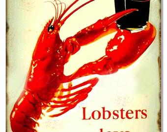 "Guinness Loves Lobsters Beer Nostalgic Bar Metal Sign 12""x18"" .040 Aluminum RG8318"
