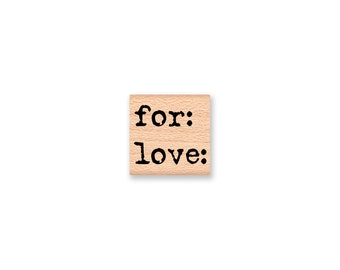 FOR LOVE Rubber Stamp~Small Gift Tag Stamp~Handmade Gift tag Stamp~Christmas and Holiday Tags~Wood Mounted Stamp~Mountainside Crafts(55-14)