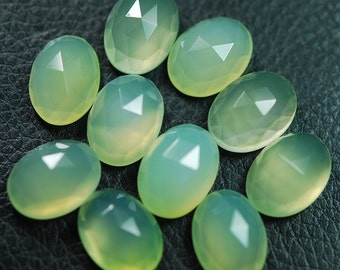 4 Matched Pair,AAA Quality, Prenite Chalcedony feceted Oval Shape Briolettes 10x14mm Reduce From19.99