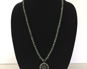 Long Antique Style Beaded Skeleton Key Necklace