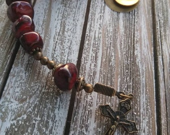 Personalized Hand Stamped Handcrafted Pocket Rosary Quartzite Prayer Beads Catholic Gift Single Decade Rosary