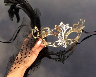 Feather Mask, Masquerade Mask, The Great Gatsby Dress, 1920's Masquerade Mask, Gold Masquerade Mask with Diamonds, Veil, Feathers and Gems