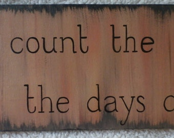 dont count the days make the days count wood wall sign hand painted and clear coated