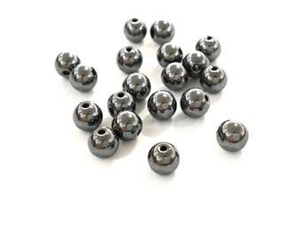X 100 4mm black hematite round natural stone beads