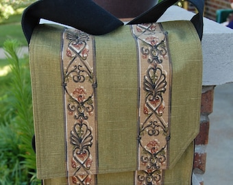 Olive Scroll Stripe Messenger Bag
