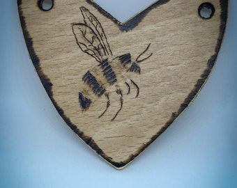 Pyography Bumble Bee Illustration on Recycled wood