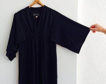 Vintage evening dress | 70s evening dress | Shubette made in England dress | black eveningdress | black vintage dress| maxi dress