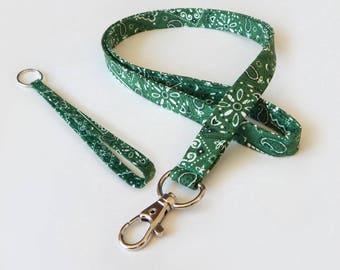 Bandanna Lanyard Set / Green Bandana / Green Keychain / Cute Lanyards / Bandanna / Teacher Lanyard / Fabric Lanyards / Badge Holder