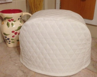 7.5 Inch Tall Toaster Cover 2 Slice White Quilted Fabric Kitchen Small Appliance Cover Ready to Ship Next Business Day