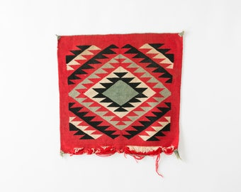 """Antique Native American Geometric Rug // 20"""" x 20"""" Red, Cream, Black, Gray // Indian, Accent Rug, Table Runner"""