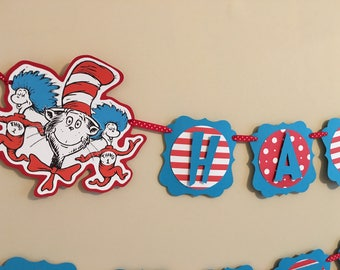 Dr Seuss Banner, The Cat In The Hat Banner, Thing 1 Thing 2 Banner