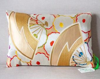 Vintage Japanese Cushion, Rose Gold Decor, Bohemian Bedroom Decor, Metallic Floral Pillow Upcycled Antique Silk Kimono Obi Eco Friendly Gift