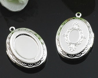 10pcs 22x29mm Silver Plated Oval Locket Necklace Art Photo Print Jewelry Locket Pendant Gift For Her