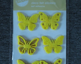 6 stickers butterflies in yellow felt Board