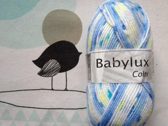WOOL BABYLUX COLOR blue mix - white horse