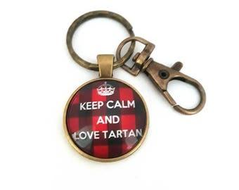 Keychain keep calm and love tartan, plaid, tartan royal Stewart tartan, Outlander key chain, glass cabochon, bronze, alodycrea
