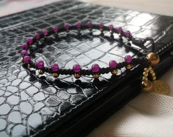 Smoothly Violet amethyst  ball bracelet anklet//Thailand handmade Jewelry/Accessories/Holiday/for her/summer anklet/boho jewelry/bohemian so