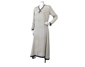 Vintage 20s Dress -20s Flapper Dress - 20s Art Deco Dress - 20s Silk Dress - 20s Polka Dot Dress - 20s Middy Dress - Blue White - AS IS - S