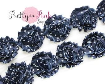 NAVY with WHITE DOT Shabby Rose Trim- Shabby Flowers- 1/2 Yard or 1 Yard- Shabby Chiffon Trim- Wholesale Shabby Flowers-