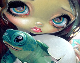 Faces of Faery 164 baby turtle tortoise trifle big eye fairy face art print by Jasmine Becket-Griffith 6x6