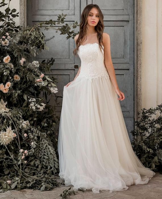 Wulstige Spitze Korsett Brautkleid Tüll Brautkleid Tüll