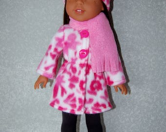 "Jacket Hat Scarf for 14"" Wellie Wishers or Melissa & Doug Doll Clothes pink tkct1169 long fleece coat handmade READY TO SHIP"