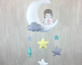 Angel mobile - baby mobile - baby crib mobile - angel baby mobile - stars - moon mobile - cloud - nursery decor